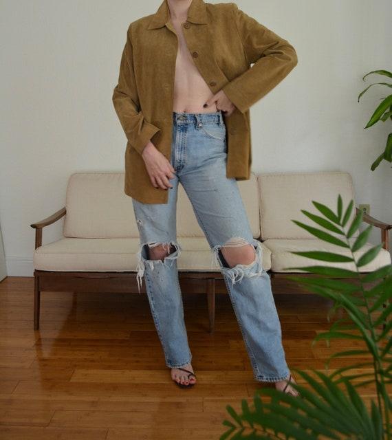 vintage suede jacket / 90s suede jacket / tan sued