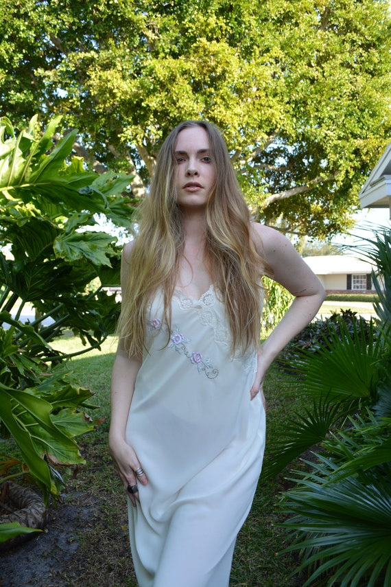 vintage cream slip dress / floral slip dress / flo