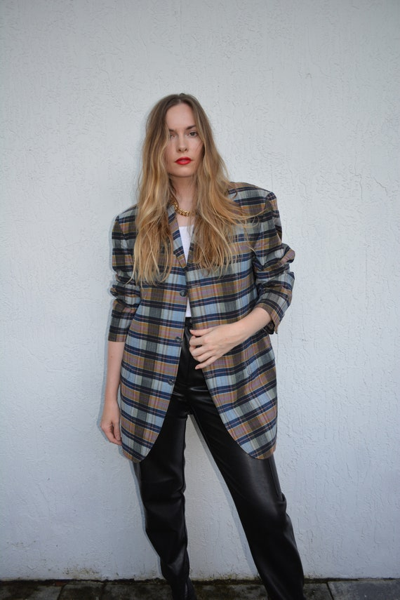 vintage multicolored sportcoat / blue plaid sportc