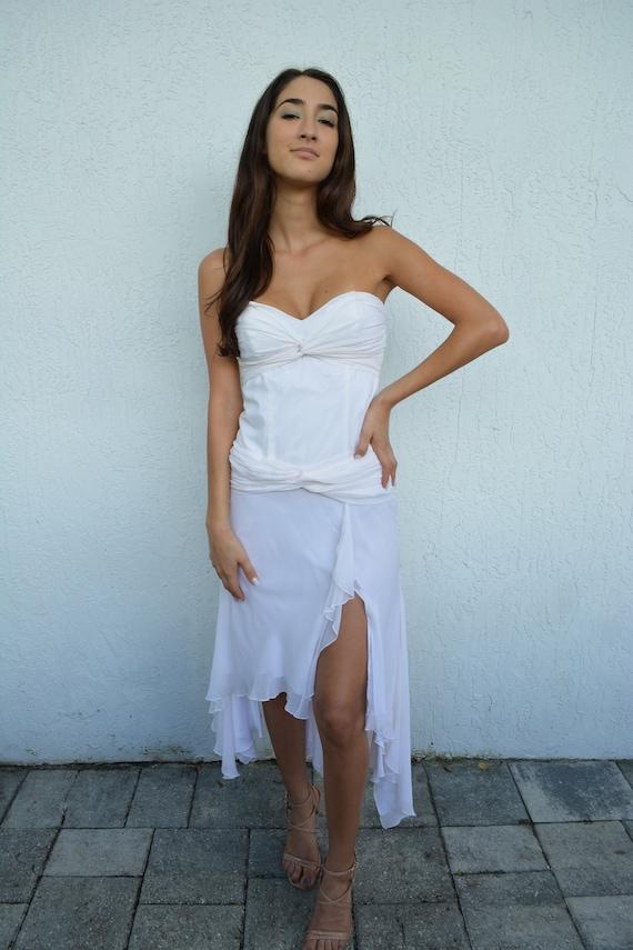 vintage silk dress/ white silk bridal dress / whi… - image 1