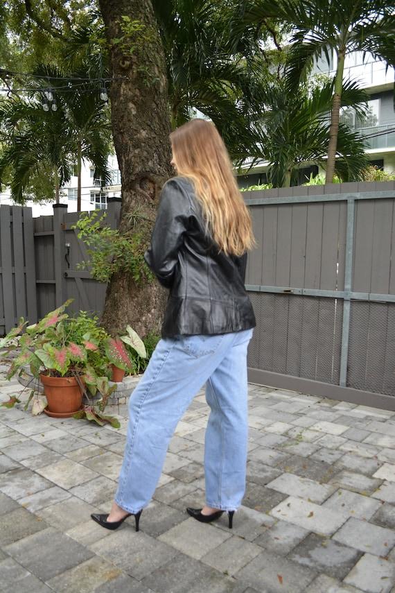 vintage leather jacket / y2k leather jacket / sho… - image 6
