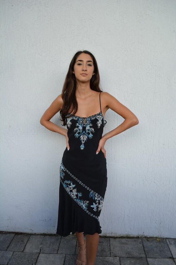 vintage black midi dress / black beaded dress / un
