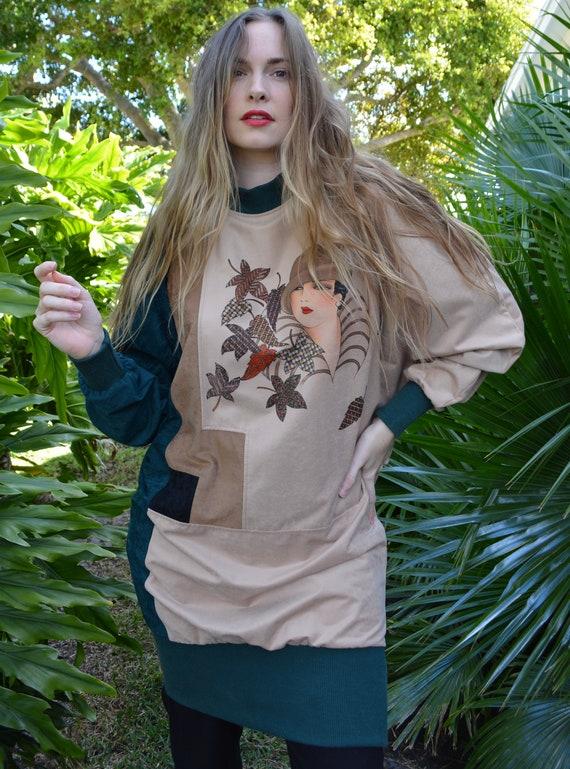vintage 80s sweater / vintage 80s tunic / 80s swe… - image 4