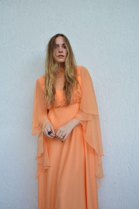 vintage 70s dress / vintage 70s maxi dress / 70s f