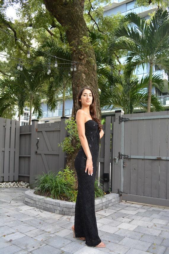 vintage lace maxi dress / strapless formal dress … - image 8