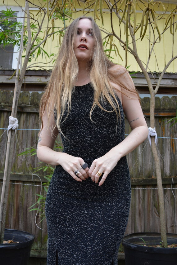 Vintage beaded dress / beaded formal dress / black