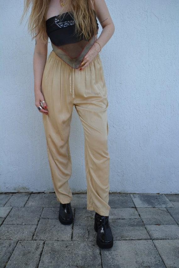 vintage trousers / tan trousers / vintage silk tro