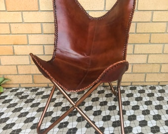leather butterfly chair etsy