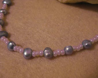 Necklace, lavendar fresh water pearls, white seed beads