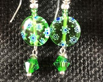 Green Blue &Silver Earrings