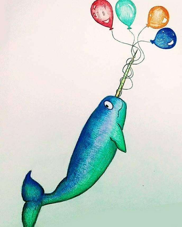 Narwhal Art Print // Narwhal Art // Birthday Narwhal