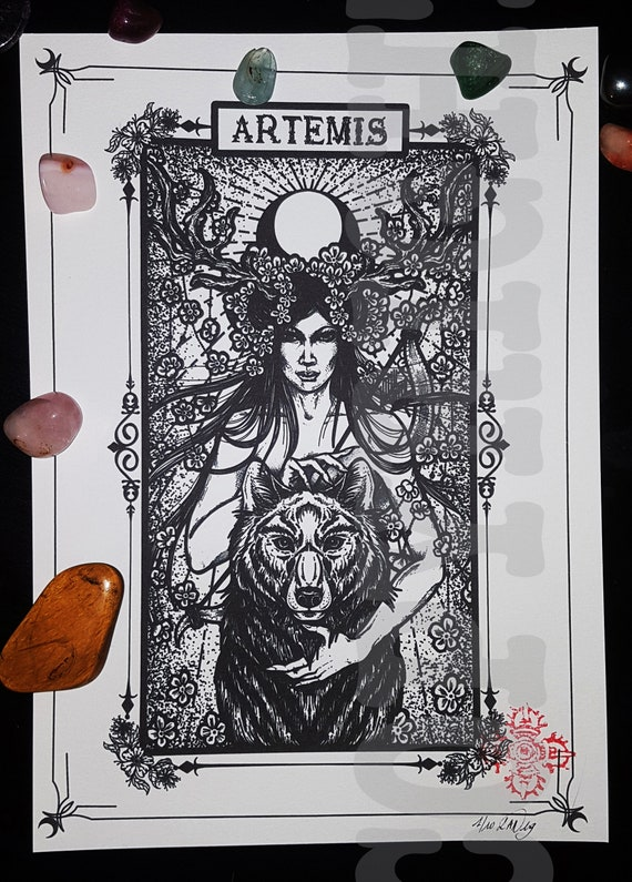 Artemis TATTOO PRINT ,illustration ,occult ,pagan ,gothic,viking,god, ,  goddess , myth ,witchcraft ,esoteric,darkart,deco