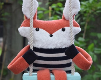 Fox, toy pouch from recycled clothes and fabrics new