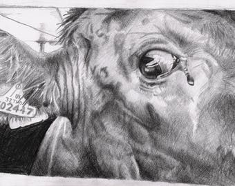 The Crying Cow DIGITAL PRINT - Vegan art - Animal Rights - (75% of profits go to vegan charities)
