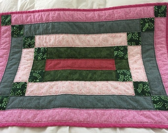 Baby Crib Quilt in pinks and greens