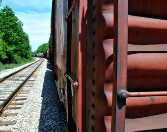Red Train Print – Landscape Wall Art, Train Photography, Digital Download