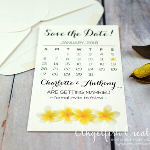 Plumeria Frangipani Beach Wedding Invitation Style Name: STACI PRINTABLE File Tropical Exotic Flowers