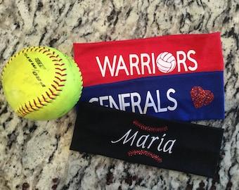 Personalized Headband sports custom design yoga team hairband Volleyball soccer basketball softball cheerleading sweat band dance glitter
