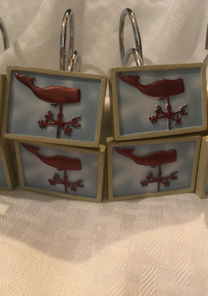Set Of 12 Whale Weather Vane Shower Curtain Hooks