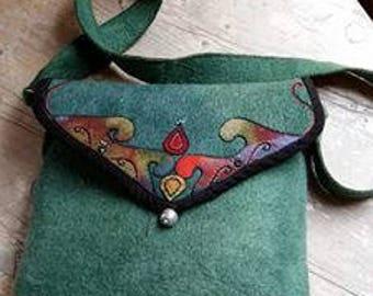 felted green bag