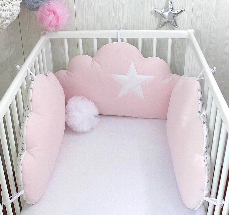 Tour de lit bébé 3 coussins nuages blanc gris et rose poudré   Etsy