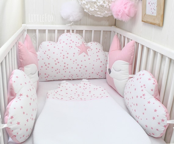 cot bed FLOWERS PINK YELLOW PILLOW BUMPER made from 6 cushions for cot