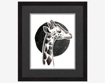 Black and White Giraffe Print, 8.5x11