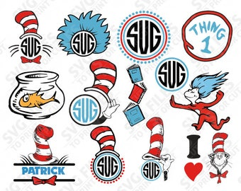 Cat in the Hat SVG, Cat in the Hat Files, Dr. Seuss Files, Cut Files Cricut Silhouette, Printable Decal, Monogram Frame, Clipart - 016