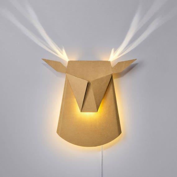paredluz de cartónDIYaccesorio luz hogardecoración del de Lámpara nórdicadecoración la de de LED de nochedecoración cabeza de de la ciervo T3clF1KJ