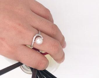 Moonlight - Sliver&Pearl Ring