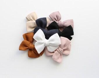 Mini Linen Bow Mini Baby Bow Headband Ivory Shell Linen Mini Ivory Linen Clip Bow