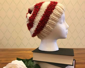 Bright red and white knit beanie / Free US Shipping
