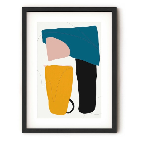 Colourful Modern Abstract Art Print Handmade In Uk Abstract Etsy