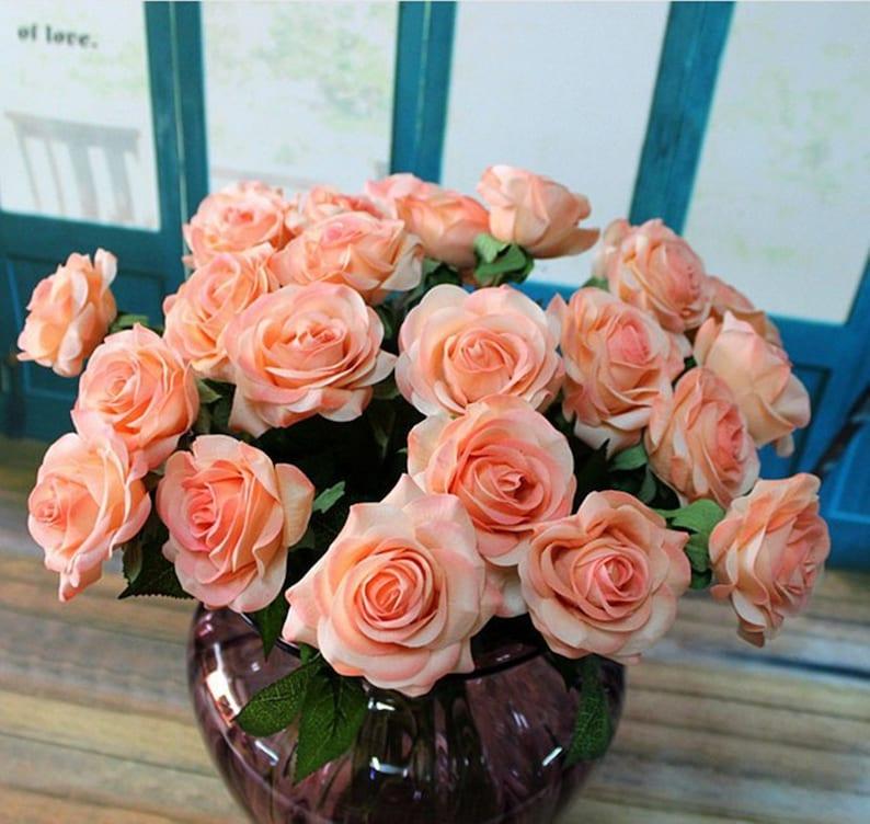 10 pcs Artificial flower Fake Peony for Bridal Bouquets,Wedding Centerpieces Arrangement,Fake Rose Floral Home Decoration,Table Decor-HZ04