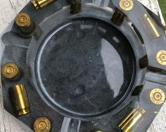 Clear Gray Mica Powder Resin Ashtray