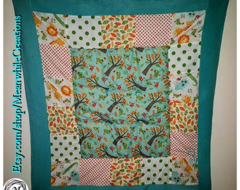 """Forest Animal Baby Quilt-Fleece and fabric-36""""x36"""" FREE SHIPPING"""