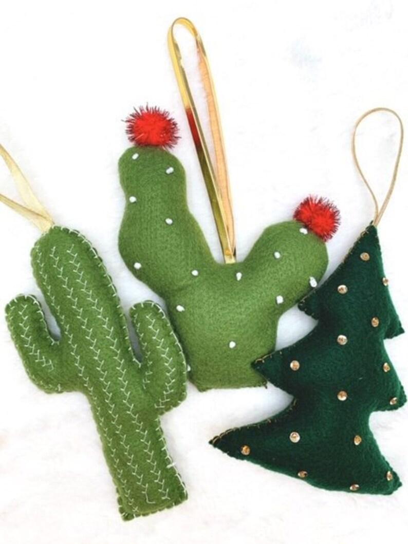 Ornaments Felt Ornaments Cactus Christmas Tree Etsy