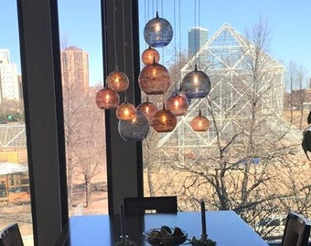 ABSTRACT-blue-amber-glass pendants-BUBBLES-blown glass colored pendant-lighting-led-modern-farmhouse--dining-chandelier-staircase-lighting