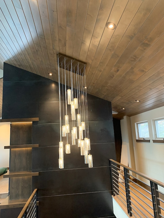 Staircase Chandelier Lighting High Ceiling Staircase Lighting Etsy