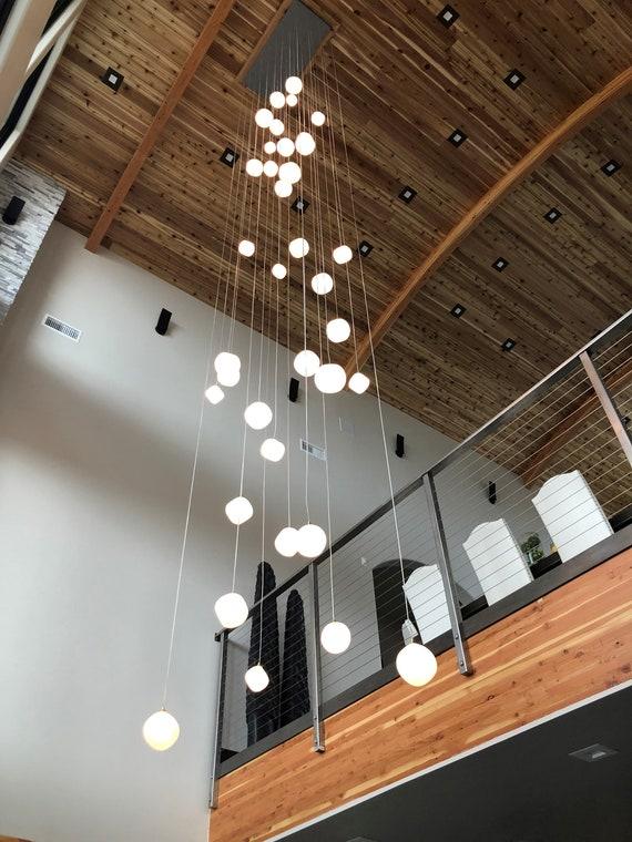 Glass Hanging Light Stairs Custom Decorative Pendant Lamp Art Glass Chandelier Lighting
