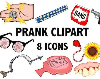 PRANK CLIPART - gag toy, practical joke, finger trap, April fools, comedy joke class clown, whoopie cushion fake teeth, buzzer, jokes