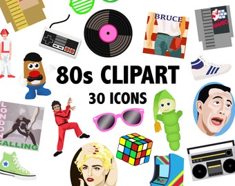 80'S CLIPART - digital 1980's vector images, 80s clipart, 80's icons, retro icons, retro clipart, eighties icons, ipod Instant Download