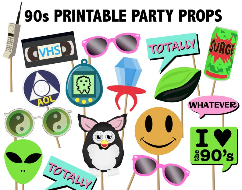 picture relating to Printable Photo Props identified as 90s Printable Occasion Props - electronic icons for 1990s occasion decorations picture booth