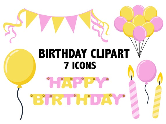 Pink And Yellow Birthday Clipart Girls Bday Party Clipart Etsy