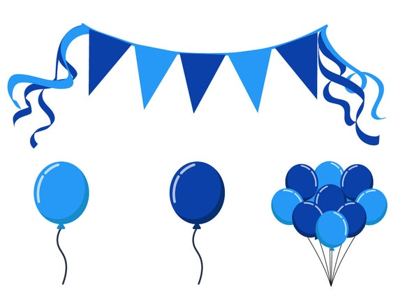 BIRTHDAY PARTY CLIPART blue balloon and banner icons | Etsy