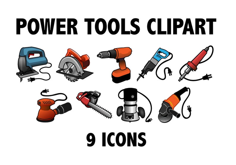 photograph about Printable Tools titled Electrical power Instruments CLIPART - Printable framework icons, observed, sander, dremel software, and far more! Handyman clipart icons