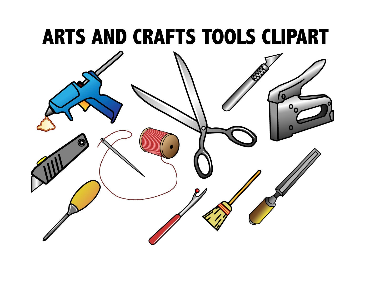 Arts & Crafts Tools CLIPART - crafting and hobby icons, Printable DIY  images, etsy store clipart, art supplies, do it yourself