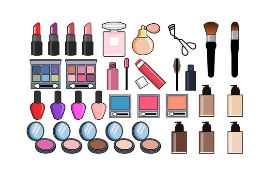 makeup clipart beauty and cosmetics icons etsy rh etsy com makeup clip art border makeup clipart free