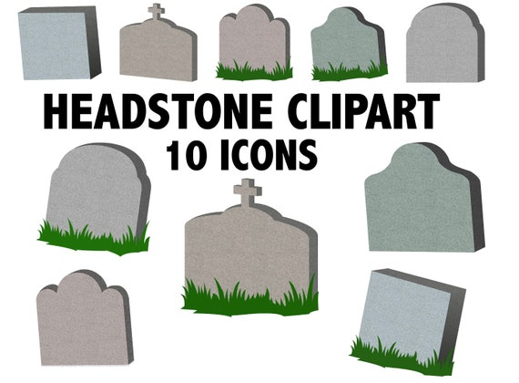 GRAVE CLIPART halloween tombstone icons printable blank | Etsy