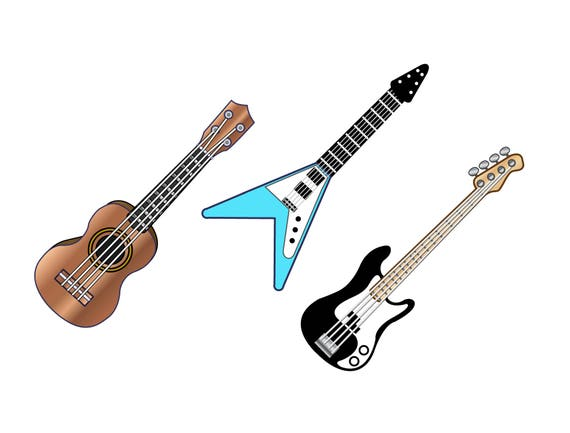 Guitare Clipart guitar clipart electric and acoustic guitar icons | etsy